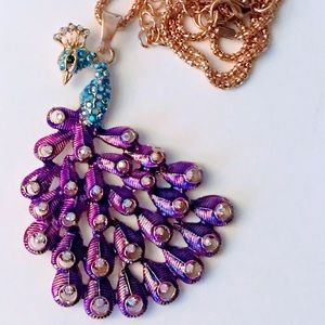 NEW! SPARKLING PURPLE PEACOCK SWEATER NECKLACE